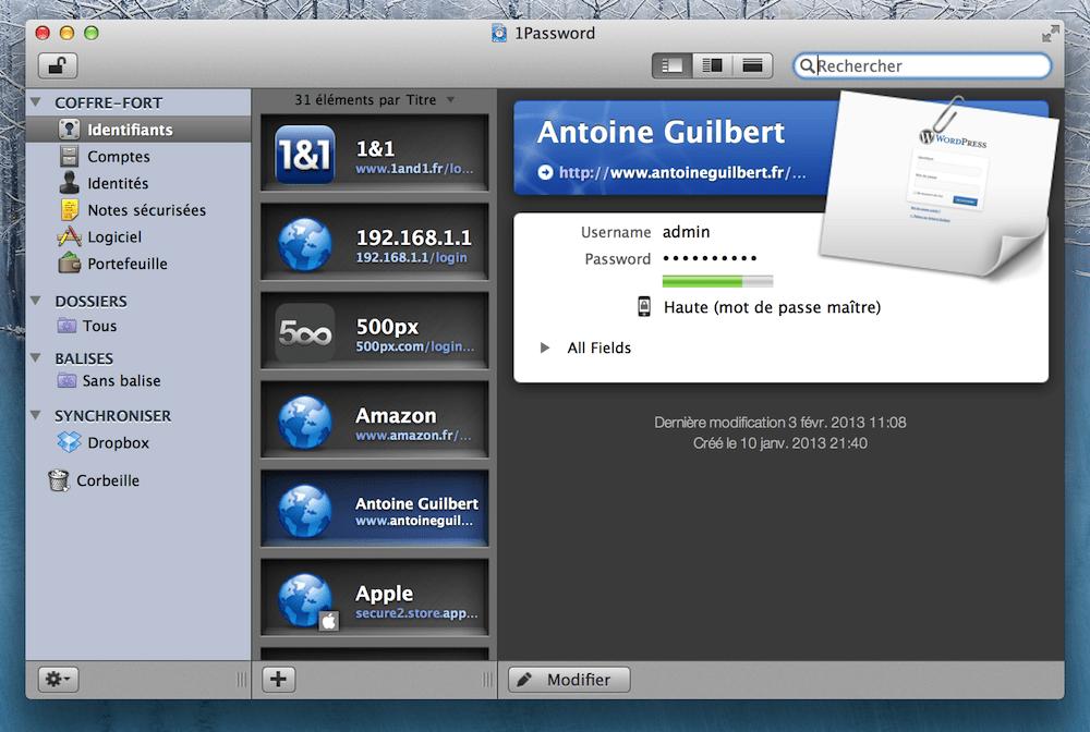 Interface de 1Password sur Mac