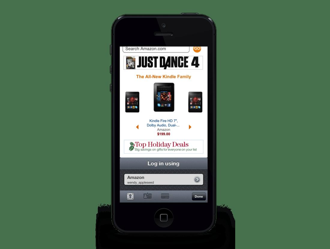 1Password sur iPhone - Navigateur