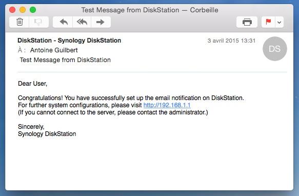 Mettre les mails de notification de votre Synology en